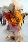 Pagan and Christian traditions. Burning scarecrow. — Stock Photo