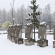 Snow on the moai - Stock Photo
