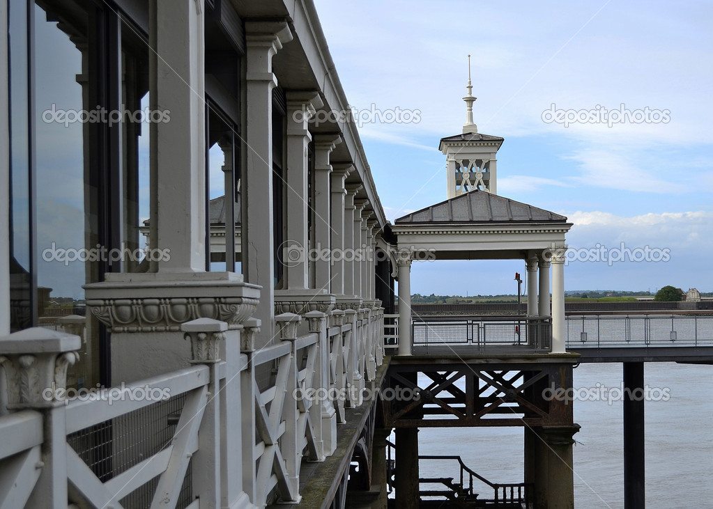 Gravesend, England - June17, 2012. Built in 1834, Gravesend Pier is the world&#039;s oldest surviving cast iron pier. It was refurbished in 2002 and a steel docking pontoon added.  Stock Photo #12757931