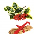 Ivy, red winter berries and cinnamon stick bundle — Stock Photo