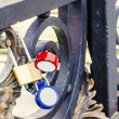 Bright Padlocks Locking in Love on Bridge — Stock Photo #43731199