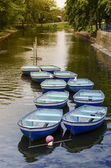 Ten Rowing Boats On Peaceful Canal — Stock Photo