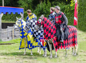 Three Tudor Knights on Horses — Stock Photo