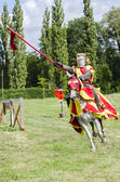 Tudor Knight Charging — Stock Photo