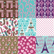 Paris Pattern Collection — Stock Vector