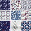 Collection of nautical patterns — Stock Vector #14114138