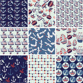 Collection of nautical patterns — Stock Vector