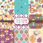 Tea Time Digital Scrapbook Paper — Stock Vector #14181914