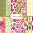 Set of floral summery wallpapers — Stock Vector #14187316