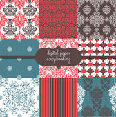 Damask Digital Scrapbook Paper Pack — Stock Vector