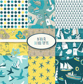 Nautical Digital Scrapbook Papers — Stock Vector