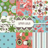 Conjunto de wallpapers de verão florais — Vetorial Stock