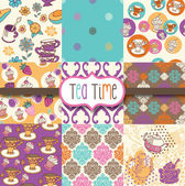 Tea Time Digital Scrapbook Paper — Vector de stock