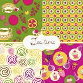Tea and sweets colorful wallpapers — Stock Vector