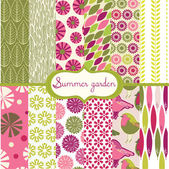 Set of floral summery wallpapers — Stock Vector