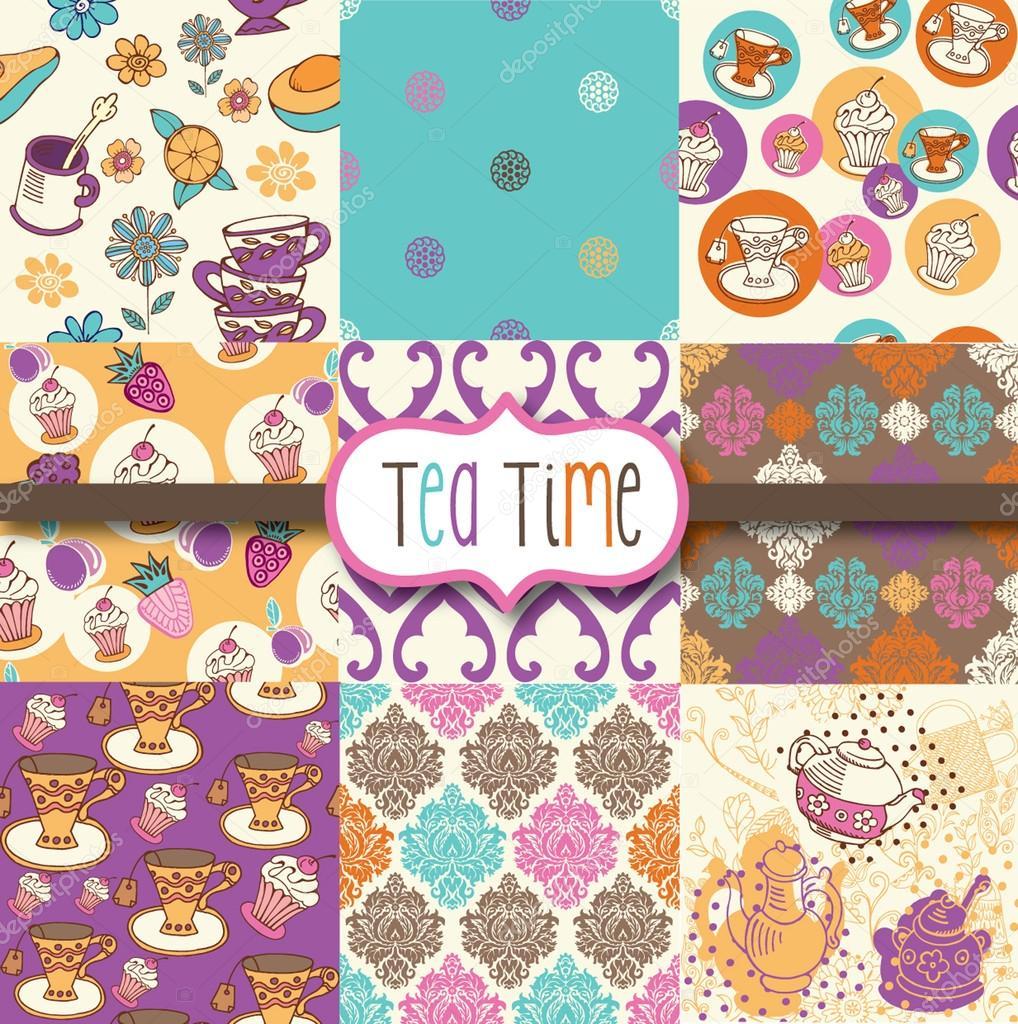 Scrapbook paper designs download - Tea Time Digital Scrapbook Paper Stock Vector 14181914
