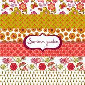 набор цветочный летний обоев — Cтоковый вектор