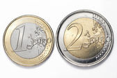 A one and a two euros coins — Stock Photo