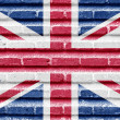 United Kingdom (UK) flag on a brick wall — Stock Photo