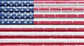 United States of America (USA) flag on a brick wall — Zdjęcie stockowe