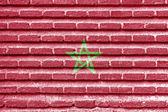Morocco flag on an old brick wall — Stock Photo