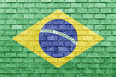 Brazil flag on a brick wall — Stock Photo