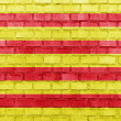 Catalonia flag on a brick wall — Stock Photo