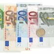 Euro banknotes isolated on white background — Stock Photo #15442783