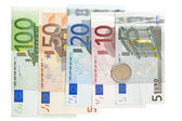 Euro banknotes isolated on white background — 图库照片