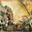 Mysterious temples of ancient civilisation - artwork in painting style (from my cambodian series) - Zdjęcie stockowe