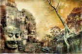 Mysterious temples of ancient civilisation - artwork in painting style (from my cambodian series) — Stock Photo