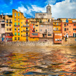 Girona - pictorial city of Catalonia, Spain - Stock Photo