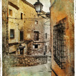 Streets of medieval Spain - picture in painting style - Stock Photo