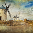 Stock Photo: Windmills of Spain - picture in painting style