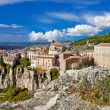 Ancient Spain - Cuenca town on cliff rocks - Stock Photo