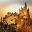 Impressive Alcazar castle on sunset - Segova, Spain — Stock Photo