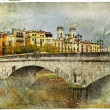 Girona, view with bridge - artistic picture in painting style - Stok fotoraf