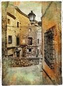 Streets of medieval Spain - picture in painting style — Stock Photo