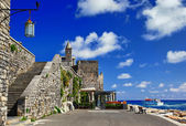 Pictorial Italy series - Portovenere. castle with church — Stock Photo