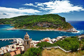 Italian riviera series. Portovenere. view of port with island — Stock Photo
