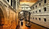 关于日落的惊人威尼斯。风景区的桥梁 — 图库照片