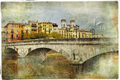Girona, view with bridge - artistic picture in painting style — Stock Photo