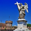 Greatest Roman landmarks -bridge with angels - Stock Photo