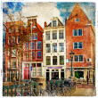 Amsterdam - illustraties in Schilderstijl — Stockfoto