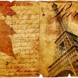 Romantic vintage letter from Paris - Stock Photo