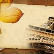 Autumn in Paris - retro background with old page - Stock Photo
