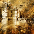 Azey-le-redeau castle - artwork in painting style — Stock Photo