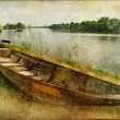 Pictorial autumn scene with old boat - artwork in painting style — Stock Photo