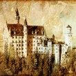 Neuschwanstein castle - picture in retro style — Stock Photo