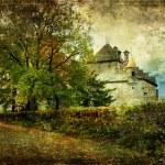 Chillion castle - picture in watercolor style — Stock Photo